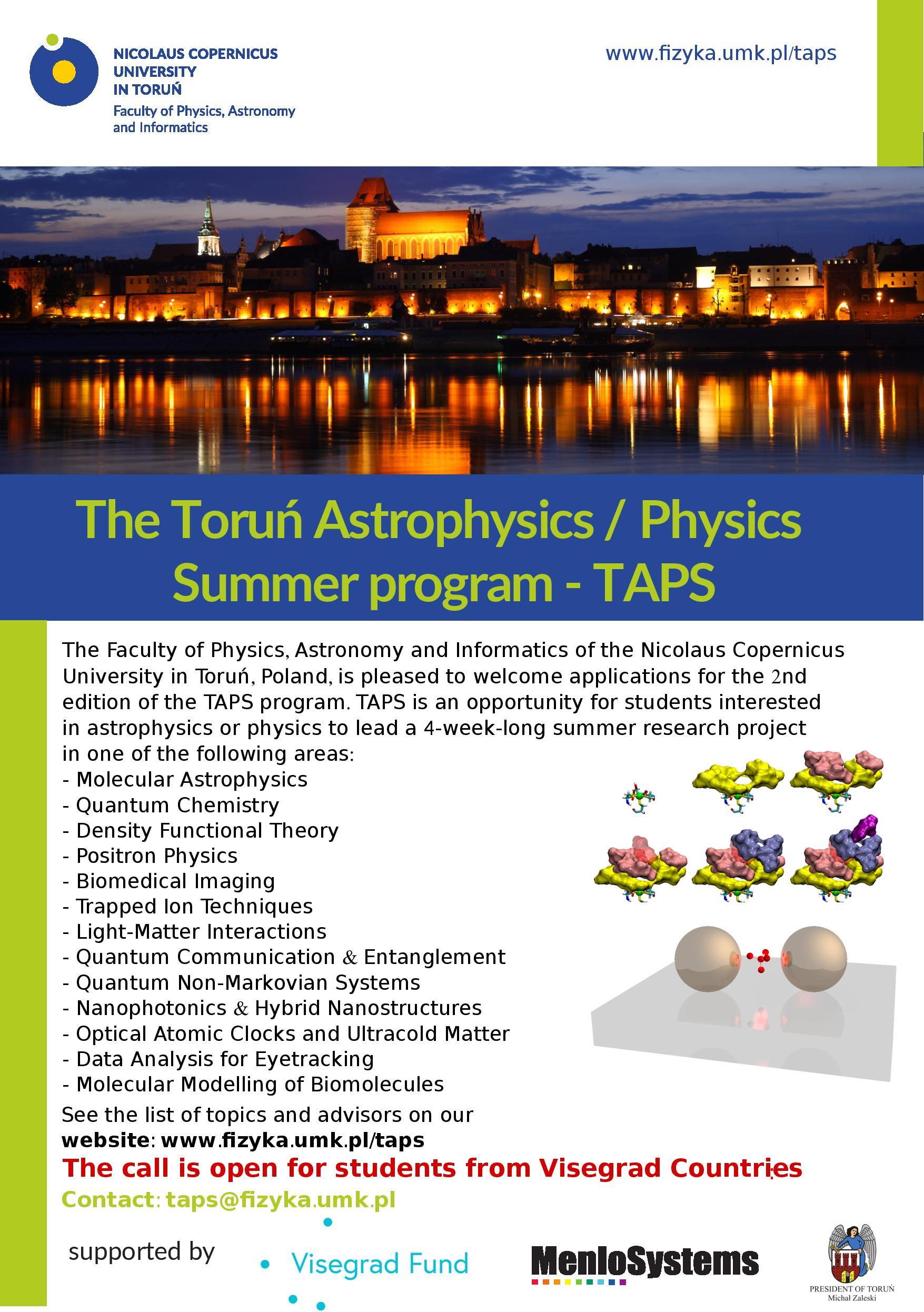 The Toruń Astrophysics / Physics Summer Program - TAPS 2018