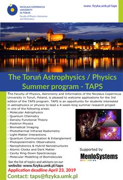 The Toruń Astrophysics / Physics Summer Program - TAPS 2019